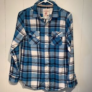 Boy's Blue Plaid Red Camel Flannel